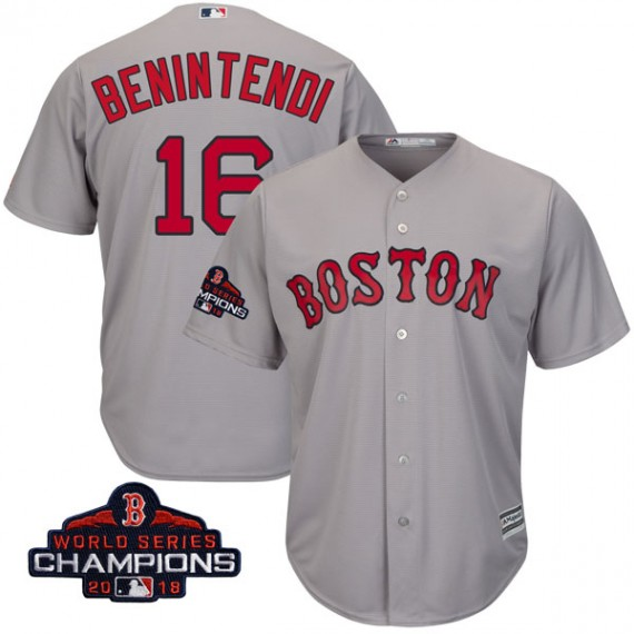1302cf83d Boston Red Sox Andrew Benintendi Official Gray Authentic Men s Majestic  Cool Base Road 2018 World Series