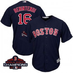 Boston Red Sox Andrew Benintendi Official Navy Authentic Men's Majestic Cool Base Alternate Collection 2018 World Series Champio