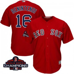 Boston Red Sox Andrew Benintendi Official Red Authentic Men's Majestic Cool Base Alternate 2018 World Series Champions Player ML