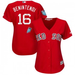 Boston Red Sox Andrew Benintendi Official Red Authentic Women's Majestic Cool Base 2018 Spring Training Player MLB Jersey