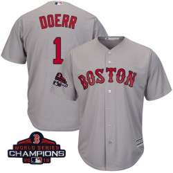 Boston Red Sox Bobby Doerr Official Gray Replica Youth Majestic Cool Base Road 2018 World Series Champions Player MLB Jersey