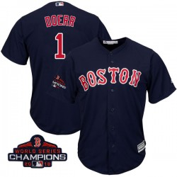 Boston Red Sox Bobby Doerr Official Navy Authentic Men's Majestic Cool Base Alternate Collection 2018 World Series Champions Pla
