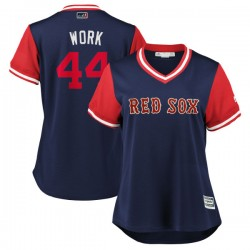 """Boston Red Sox Brandon Workman Official Navy/Red Replica Women's Majestic """"WORK"""" 2018 Players' Weekend Cool Base Player MLB Jers"""