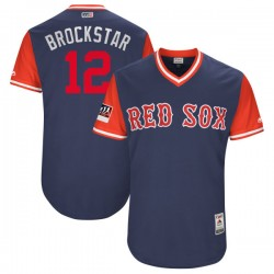 """Boston Red Sox Brock Holt Official Navy/Red Authentic Men's Majestic """"BROCKSTAR"""" 2018 Players' Weekend Flex Base Player MLB Jers"""