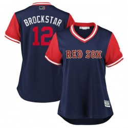"""Boston Red Sox Brock Holt Official Navy/Red Replica Women's Majestic """"BROCKSTAR"""" 2018 Players' Weekend Cool Base Player MLB Jers"""