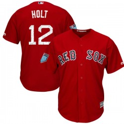 Boston Red Sox Brock Holt Official Red Authentic Youth Majestic Cool Base 2018 Spring Training Player MLB Jersey