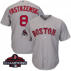 Boston Red Sox Carl Yastrzemski Official Gray Replica Youth Majestic Cool Base Road 2018 World Series Champions Player MLB Jerse