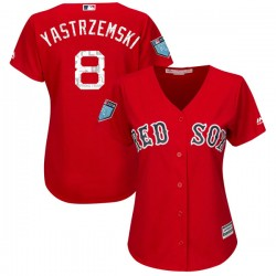 Boston Red Sox Carl Yastrzemski Official Red Authentic Women's Majestic Cool Base 2018 Spring Training Player MLB Jersey