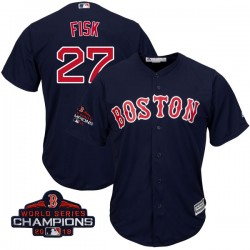 Boston Red Sox Carlton Fisk Official Navy Replica Men's Majestic Cool Base Alternate Collection 2018 World Series Champions Play