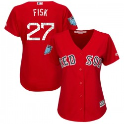 Boston Red Sox Carlton Fisk Official Red Authentic Women's Majestic Cool Base 2018 Spring Training Player MLB Jersey