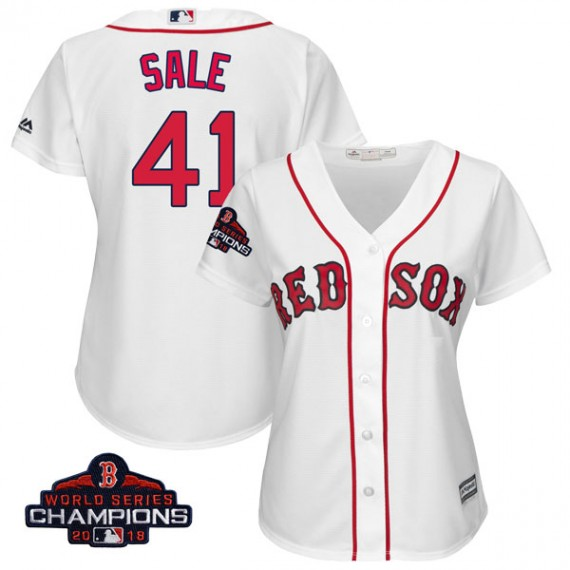 6053964ba4c Boston Red Sox Chris Sale Official White Authentic Women's Majestic Cool  Base Home 2018 World Series