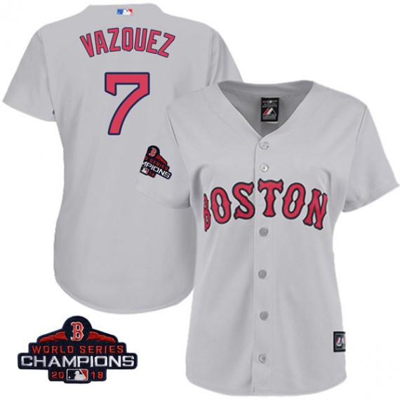 Boston Red Sox Christian Vazquez Official Gray Replica Women s Majestic  Cool Base Road 2018 World Series 021259f3d31