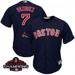 Boston Red Sox Christian Vazquez Official Navy Replica Men's Majestic Cool Base Alternate Collection 2018 World Series Champions