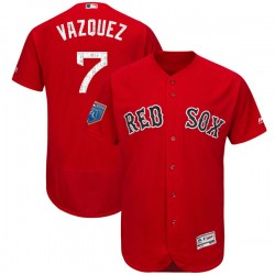Boston Red Sox Christian Vazquez Official Red Authentic Youth Majestic Flex Base 2018 Spring Training Player MLB Jersey