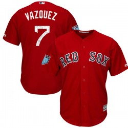 Boston Red Sox Christian Vazquez Official Red Replica Youth Majestic Cool Base 2018 Spring Training Player MLB Jersey