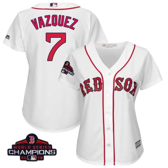 Boston Red Sox Christian Vazquez Official White Replica Women s Majestic  Cool Base Home 2018 World Series 2824de435ca