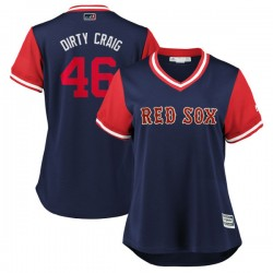 """Boston Red Sox Craig Kimbrel Official Navy/Red Replica Women's Majestic """"DIRTY CRAIG"""" 2018 Players' Weekend Cool Base Player MLB"""