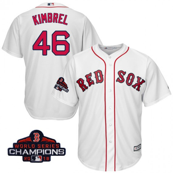 37914bcdc Boston Red Sox Craig Kimbrel Official White Replica Youth Majestic Cool Base  Home 2018 World Series