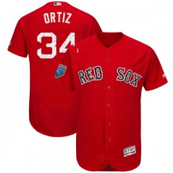 Boston Red Sox David Ortiz Official Red Authentic Men's Majestic Flex Base 2018 Spring Training Player MLB Jersey