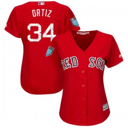Boston Red Sox David Ortiz Official Red Authentic Women's Majestic Cool Base 2018 Spring Training Player MLB Jersey
