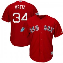 Boston Red Sox David Ortiz Official Red Replica Youth Majestic Cool Base 2018 Spring Training Player MLB Jersey