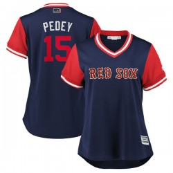 "Boston Red Sox Dustin Pedroia Official Navy/Red Replica Women's Majestic ""PEDEY"" 2018 Players' Weekend Cool Base Player MLB Jers"