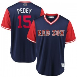 "Boston Red Sox Dustin Pedroia Official Navy/Red Replica Youth Majestic ""PEDEY"" 2018 Players' Weekend Cool Base Player MLB Jersey"
