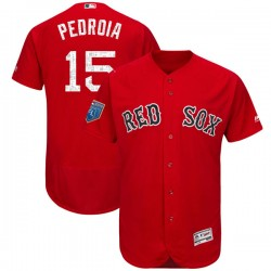 Boston Red Sox Dustin Pedroia Official Red Authentic Youth Majestic Flex Base 2018 Spring Training Player MLB Jersey