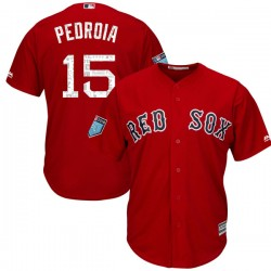 Boston Red Sox Dustin Pedroia Official Red Replica Youth Majestic Cool Base 2018 Spring Training Player MLB Jersey