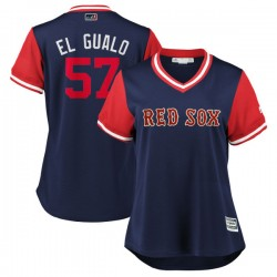 "Boston Red Sox Eduardo Rodriguez Official Navy/Red Replica Women's Majestic ""EL GUALO"" 2018 Players' Weekend Cool Base Player ML"