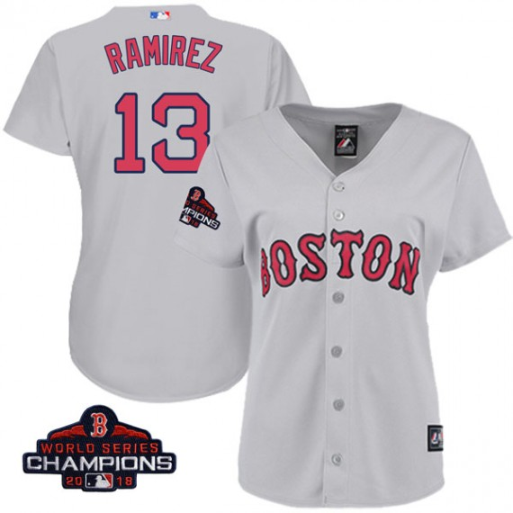 Boston Red Sox Hanley Ramirez Official Gray Authentic Women s Majestic Cool  Base Road 2018 World Series 4a9c912897d