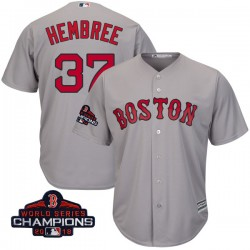 Boston Red Sox Heath Hembree Official Gray Authentic Youth Majestic Cool Base Road 2018 World Series Champions Player MLB Jersey