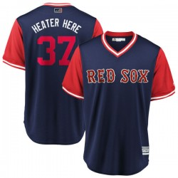 "Boston Red Sox Heath Hembree Official Navy/Red Replica Men's Majestic ""HEATER HERE"" 2018 Players' Weekend Cool Base Player MLB J"