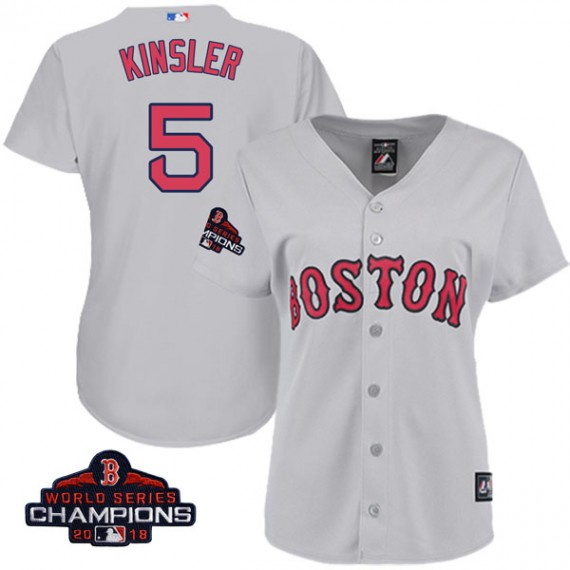 Boston Red Sox Ian Kinsler Official Gray Authentic Women s Majestic Cool  Base Road 2018 World Series db415f9bb1e