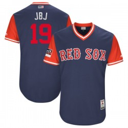 "Boston Red Sox Jackie Bradley Jr. Official Navy/Red Authentic Youth Majestic ""JBJ"" 2018 Players' Weekend Flex Base Player MLB Je"