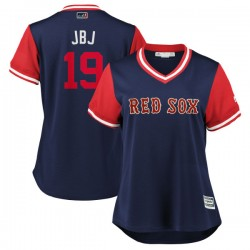 "Boston Red Sox Jackie Bradley Jr. Official Navy/Red Replica Women's Majestic ""JBJ"" 2018 Players' Weekend Cool Base Player MLB Je"