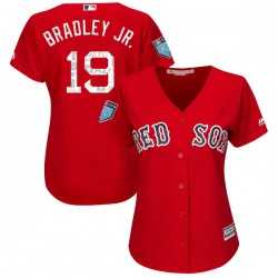 Boston Red Sox Jackie Bradley Jr. Official Red Authentic Women's Majestic Cool Base 2018 Spring Training Player MLB Jersey
