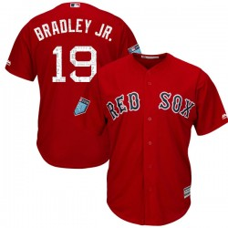 Boston Red Sox Jackie Bradley Jr. Official Red Replica Youth Majestic Cool Base 2018 Spring Training Player MLB Jersey