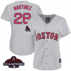 Boston Red Sox J.D. Martinez Official Gray Authentic Women s Majestic Cool  Base Road 2018 World Series 44014bba1cd