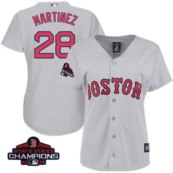 huge discount 23e85 ab4c4 Boston Red Sox J.D. Martinez Official Gray Replica Women's Majestic Cool  Base Road 2018 World Series Champions Player MLB Jersey ...
