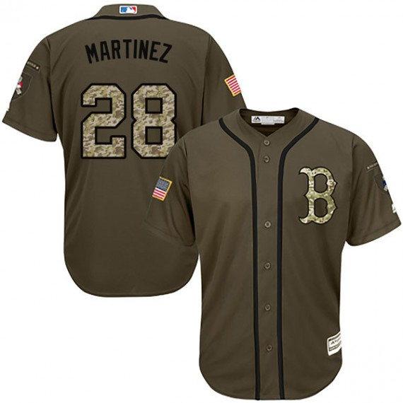 Boston Red Sox J.D. Martinez Official Green Replica Youth Majestic Salute  to Service Player MLB Jersey 1ac8b5074ef