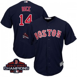 Boston Red Sox Jim Rice Official Navy Authentic Men's Majestic Cool Base Alternate Collection 2018 World Series Champions Player