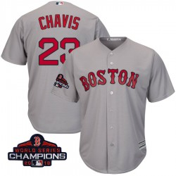 Boston Red Sox Michael Chavis Official Gray Replica Youth Majestic Cool Base Road 2018 World Series Champions Player MLB Jersey