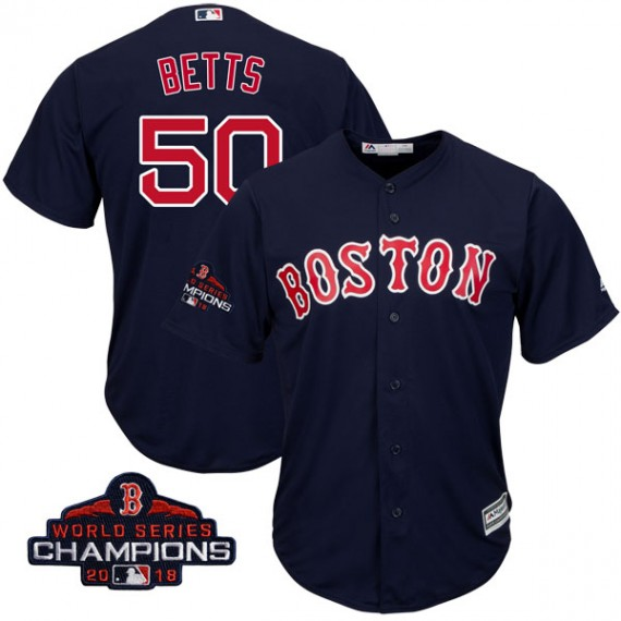 designer fashion 33a69 a8f94 Boston Red Sox Mookie Betts Official Navy Replica Youth Majestic Cool Base  Alternate Collection 2018 World Series Champions Player MLB Jersey ...
