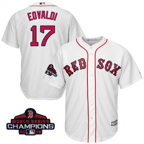 2389edb5fd9 Boston Red Sox Nathan Eovaldi Official White Replica Men s Majestic Cool  Base Home 2018 World Series