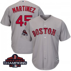 Boston Red Sox Pedro Martinez Official Gray Authentic Men's Majestic Cool Base Road 2018 World Series Champions Player MLB Jerse