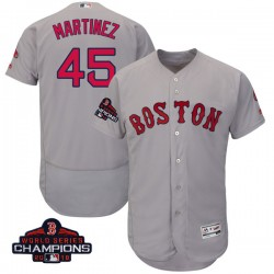 Boston Red Sox Pedro Martinez Official Gray Authentic Men's Majestic Flex Base Road Collection 2018 World Series Champions Playe