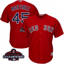 Boston Red Sox Pedro Martinez Official Red Authentic Men's Majestic Cool Base Alternate 2018 World Series Champions Player MLB J