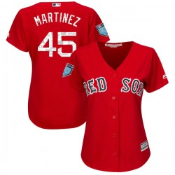Boston Red Sox Pedro Martinez Official Red Replica Women's Majestic Cool Base 2018 Spring Training Player MLB Jersey