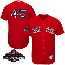 Boston Red Sox Pedro Martinez Official Scarlet Authentic Men's Majestic Flex Base Alternate Collection 2018 World Series Champio